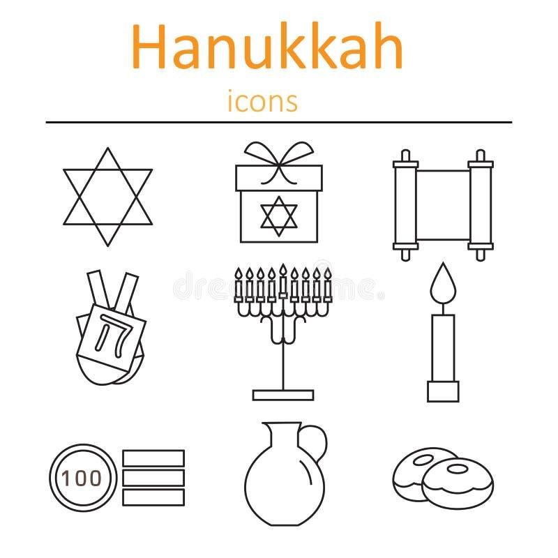 Hanukkah symbole Ikony w stylu konturów ilustracja wektor