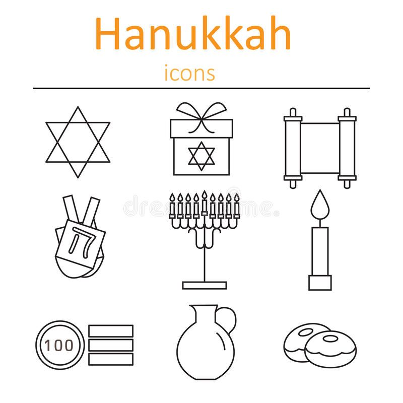Hanukkah Symbols. The icons in the style of outlines. vector illustration