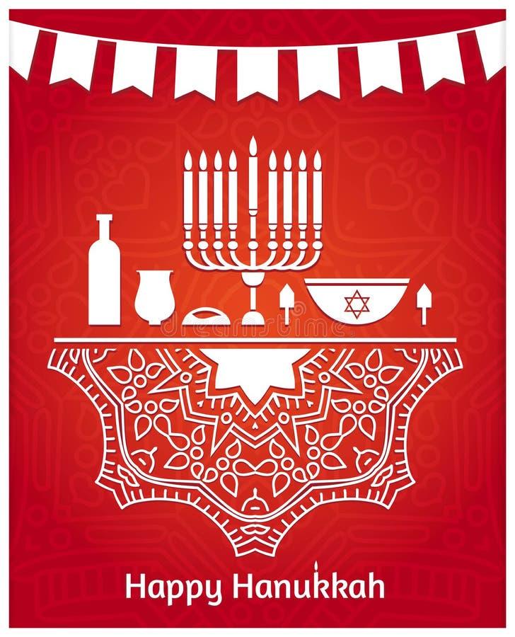 hanukkah Tableau de fête Chandelier Design de carte heureux de salutation de Hanoucca illustration de vecteur