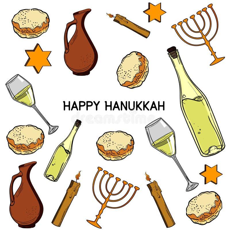 Hanukkah traditional jewish holiday symbols vector illustration