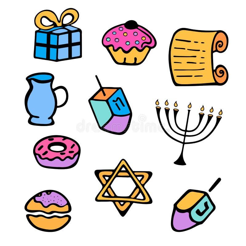 hanukkah Un ensemble d'attributs traditionnels du menorah, dreidel, bougies, Torah, butées toriques dans un style de griffonnage illustration libre de droits
