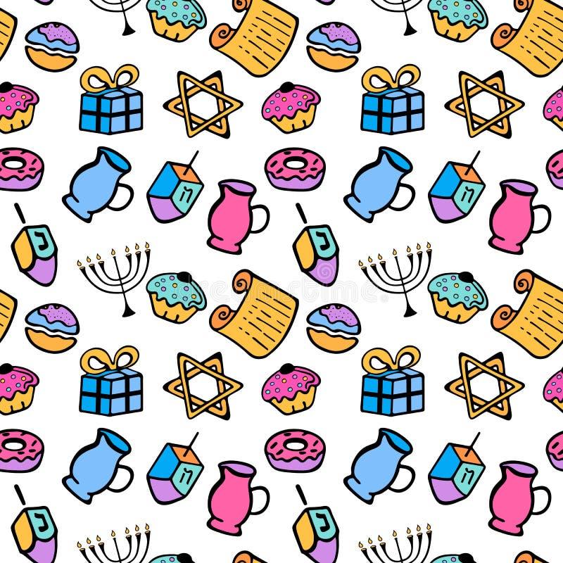 hanukkah Un ensemble d'attributs traditionnels du menorah, dreidel, huile, Torah, beignet Modèle sans couture dans un style de gr illustration de vecteur