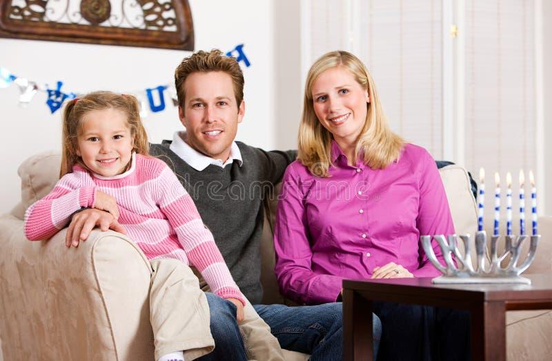 Hanukkah: Smiling Hanukkah Family stock image