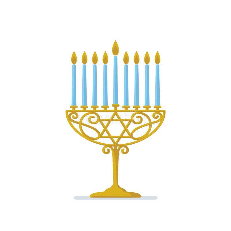 Hanukkah złota menorah żydowskie wakacje Hanukkah złocisty Menorah z błękitnymi świeczkami na białym tle