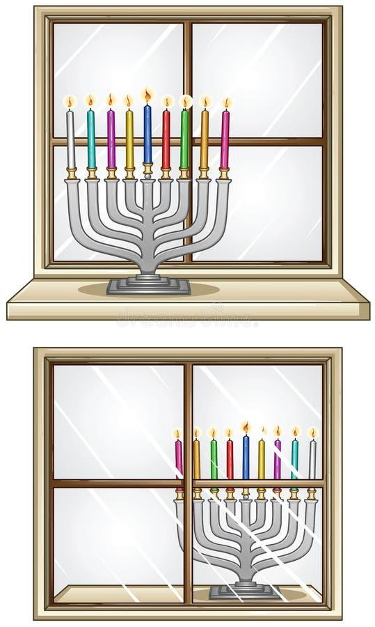 Hanukkiah auf einem Fenster