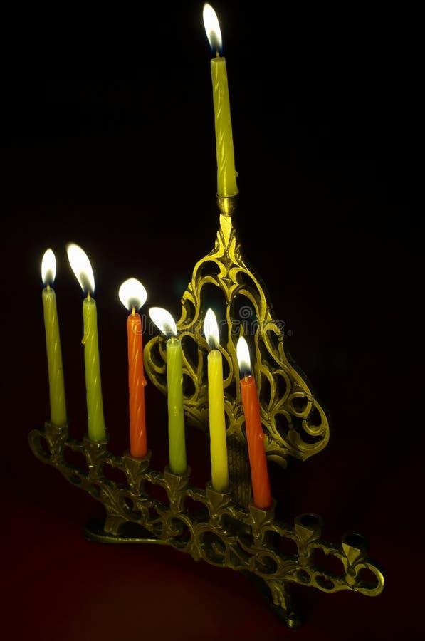 hanukkiya świeczki hanuka obraz stock