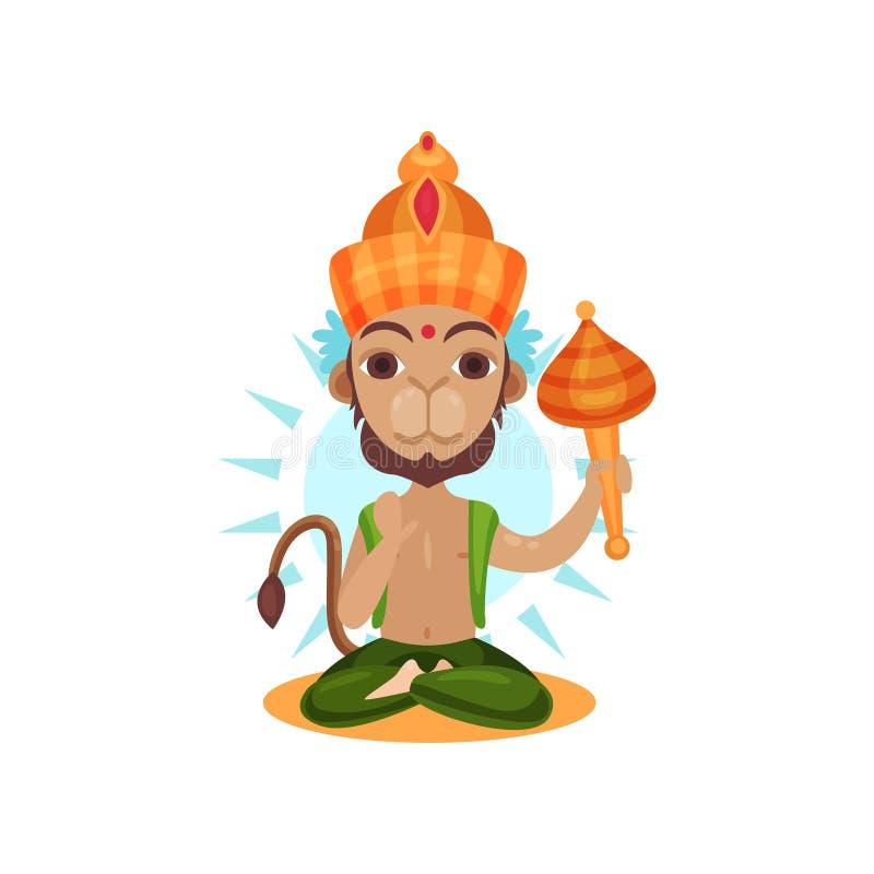 Hanuman印地安神,猴子动画片在白色背景的传染媒介例证军队的领导  向量例证