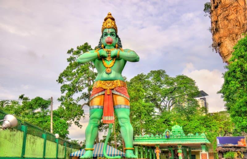 Hanuman雕象,一个印度神, Ramayana洞的,黑风洞,吉隆坡 免版税库存图片
