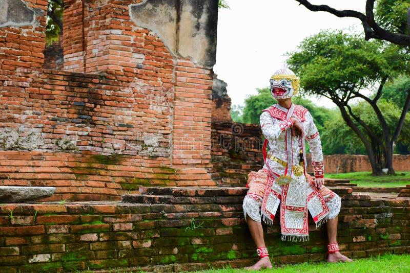 Hanuman, baile de Tailandia de la cultura del arte en Hanuman enmascarado, Ramayana, Khon tailandés foto de archivo libre de regalías