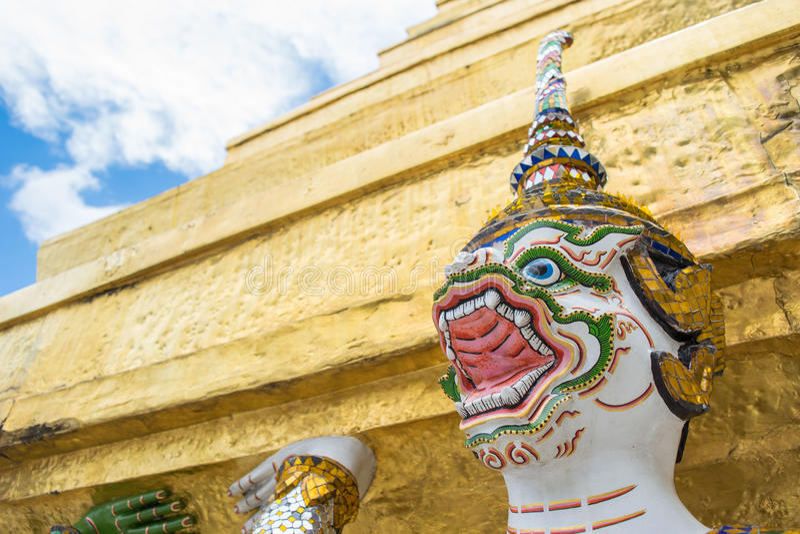 Hanuman branco levou o pagode grande imagens de stock royalty free