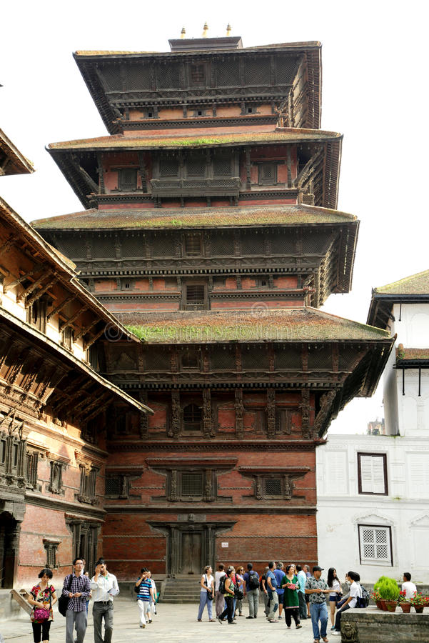 Hanuman Dhoka Durbar placeras i det centrala Katmanduet och gen arkivfoton