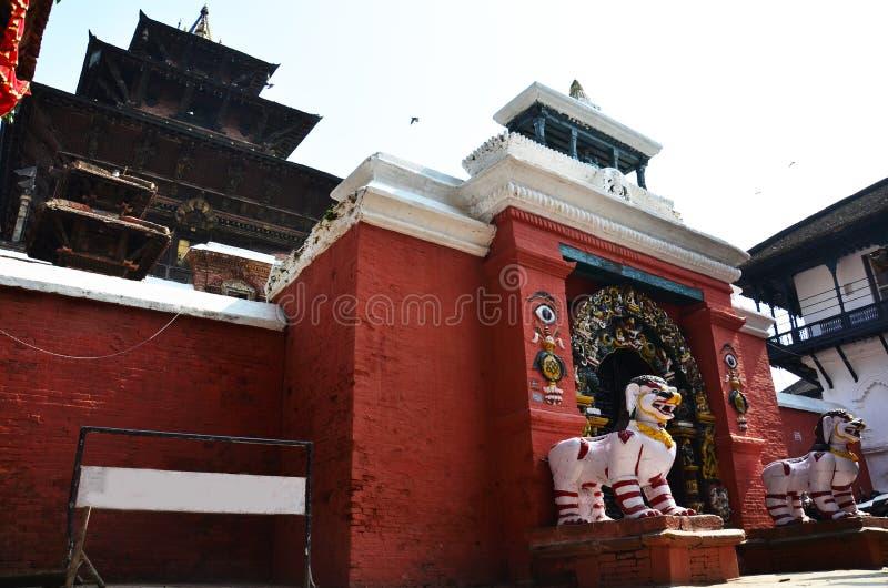 Hanuman Dhoka i den Basantapur Durbar fyrkanten på Katmandu Nepal royaltyfri bild
