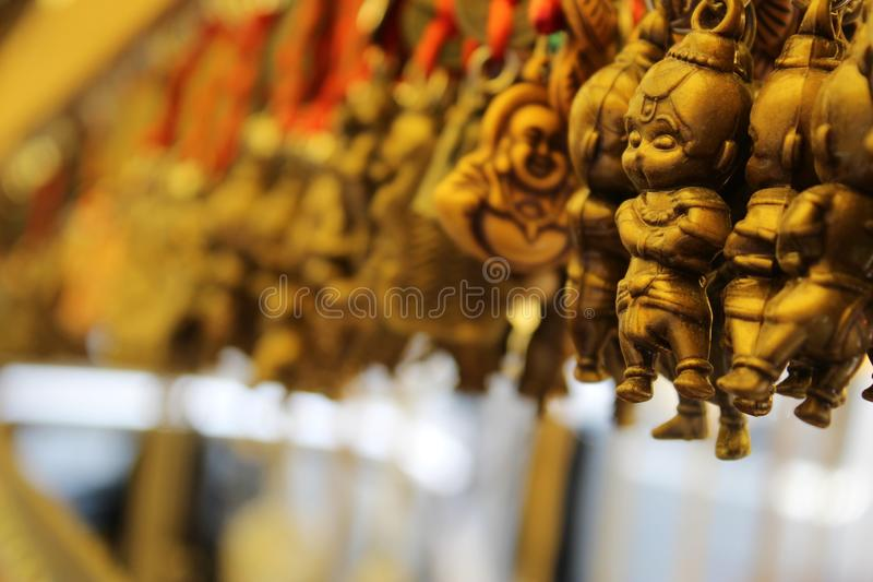 Hanuman keychain. On street sellers street.the colour of key chain is cupper.it was taken on hiddimba Devi tample in situated in Shimla and aroundly places royalty free stock photos