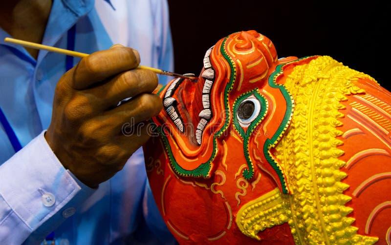 Hanuman Khon Mask, main a ouvr? des masques, masque tha?landais de Khon photos libres de droits