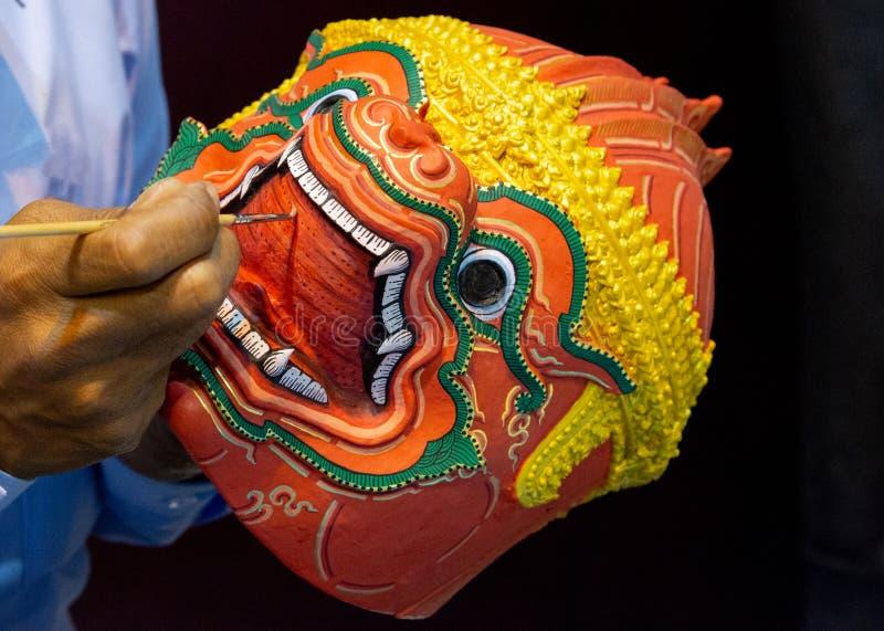 Hanuman Khon Mask, main a ouvr? des masques, masque tha?landais de Khon image stock