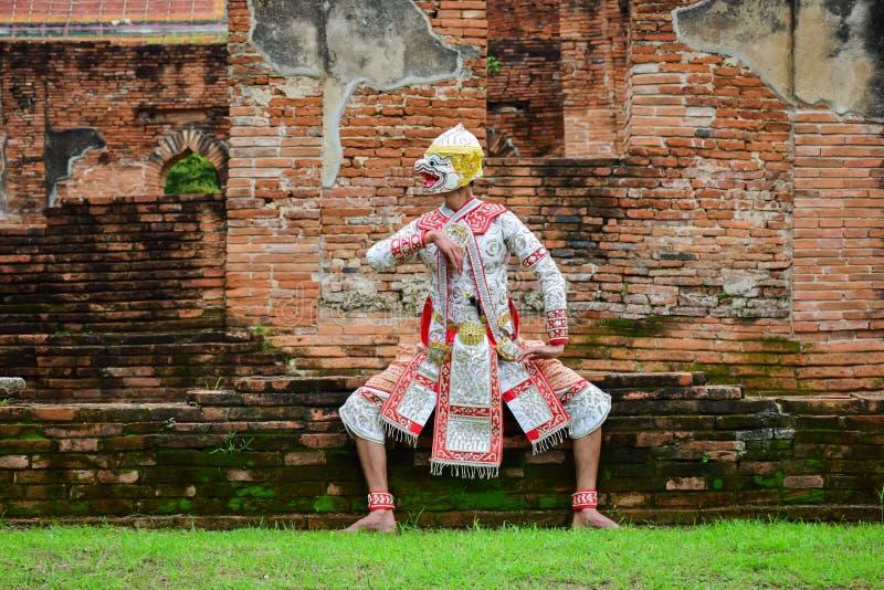 Hanuman, Kunstcultuur die Thailand in gemaskeerde Hanuman, Ramayana dansen royalty-vrije stock afbeeldingen