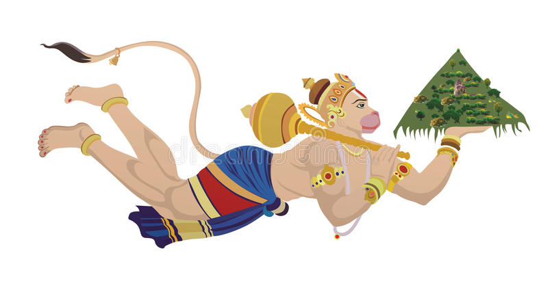 hanuman lord vektor illustrationer