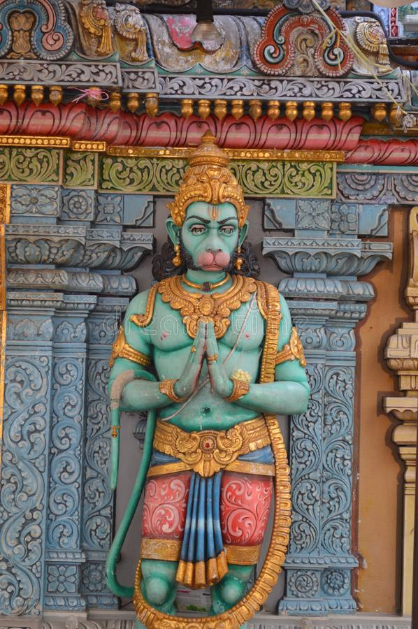 Hanuman Statue detail on hindu temple. In Singapore, Waterloo Street, Sri Krishnan Indian Temple. Hanuman with a Namaste Anjali Hasta posture stock photos