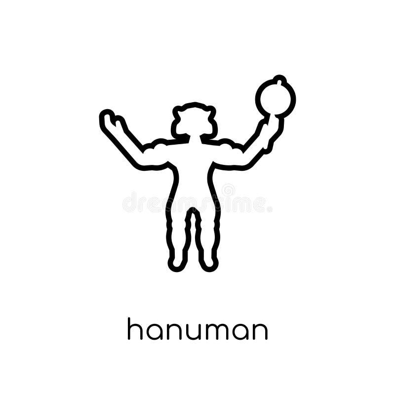 Hanuman symbol Moderiktig modern plan linjär vektorHanuman symbol på w royaltyfri illustrationer