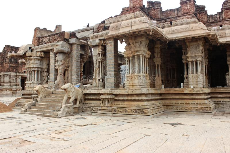 Hampi vittala temple. Hanuman temple beside vittala temple stock image