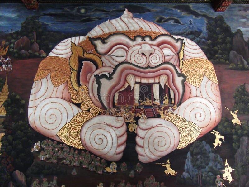 Hanuman Thai målning i tempel av smaragdBuddha royaltyfria foton