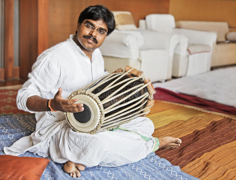 Hanumant Ghadge Tabla accompaniment. Hanumant Ghadge Tabla player from Maharashtra India during an accompaniment at private party in Bombay during April 2012 royalty free stock image