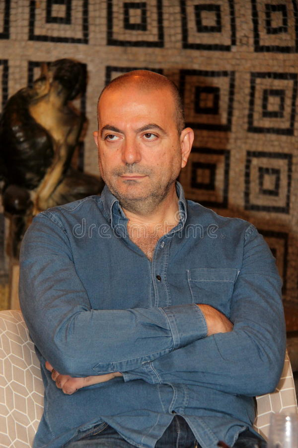 Hany Abu-Assad Palestinian director. Photographed in Florence, Italy, during the presentation of the preview of his latest film Omar Italian at the Odeon cinema stock image