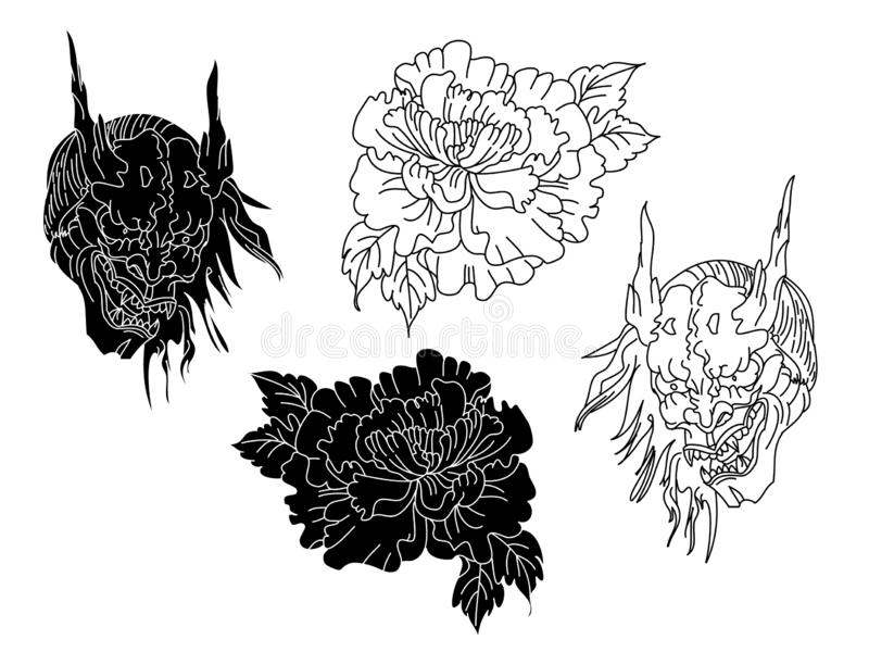 Hanya mask and chrysanthemum design for tattoo style. vector illustration