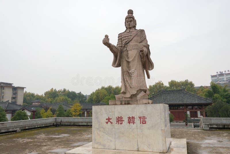 Hanzhong, CHINA - NOV 7 2014: Statue of Hanxin at BAI JIANG TAN Historic Sites . a famous Historic Sites in Hanzhong, Shanxi, Chin. A stock photos