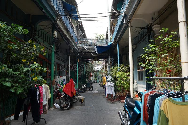 Hao Si Phuong Alley op Tran Hung Dao Street, District 5, Ho Chi Minh City royalty-vrije stock foto's