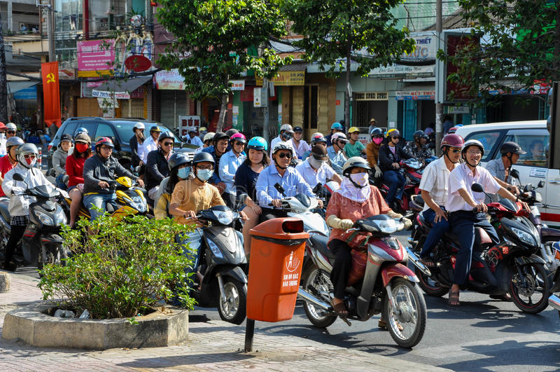 Haotic traffic in Saigon, thousands of motorbikes