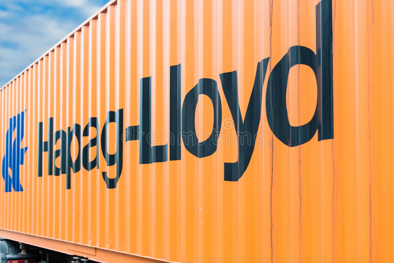 Hapag Lloyd container on a trailer stock photography