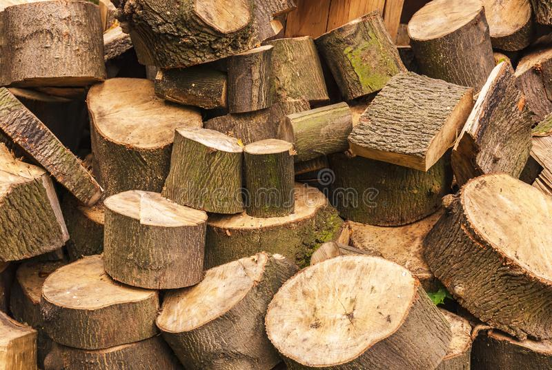 Haphazard logs. A full frame image of a haphazard pile of logs in a woodyard. 15 September 2007 royalty free stock photo