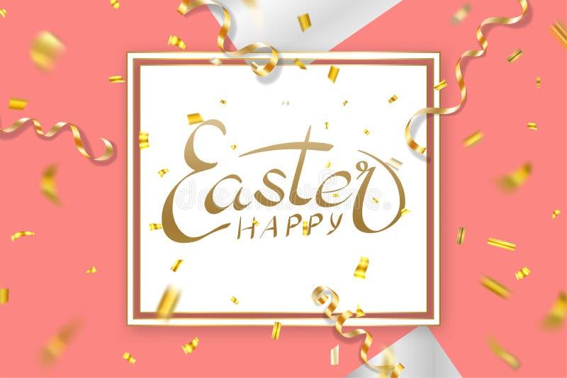 Happe Easter background, lettering, confetti. Greeting Easter 3D card. Gold decoration frame, handwritten inscription stock illustration