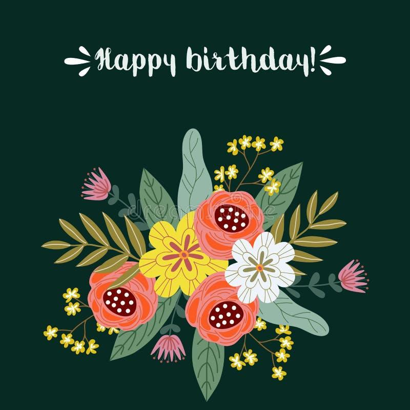 Happe födelsedag, blom- begrepp för handattraktiondesign, bukett av blommor med text på en grön bakgrund, vektor royaltyfri illustrationer