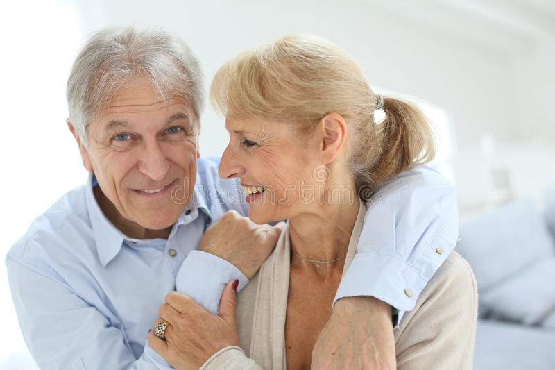 Happily married senior couple stock photos