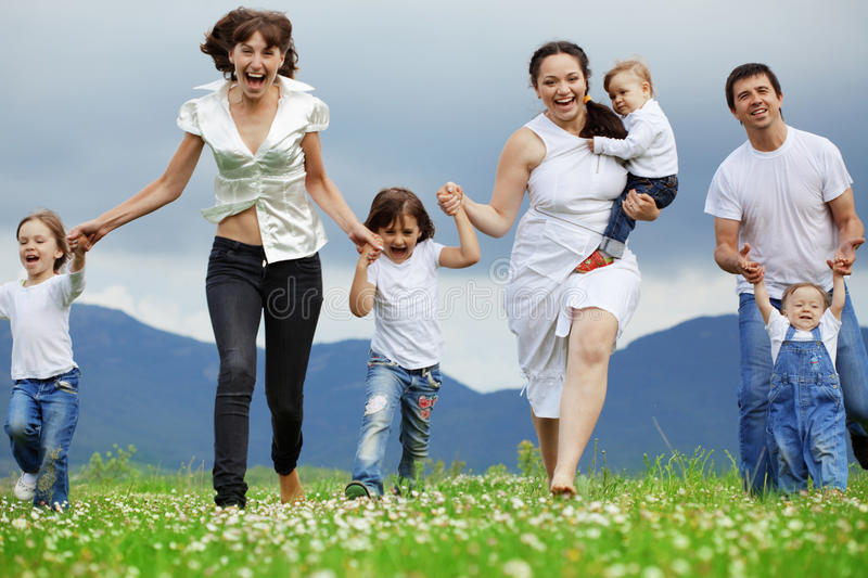 Download Happiness stock photo. Image of kids, daughter, field - 14239984