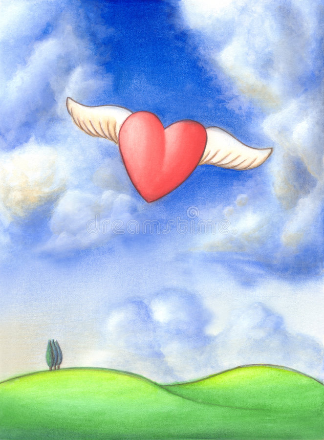 Happiness. An heart flying through a gorgeous landscape. Hand painted illustration royalty free illustration