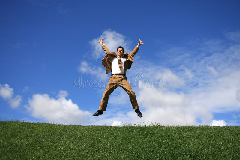Download Happiness stock photo. Image of handsome, jump, grass - 4947470