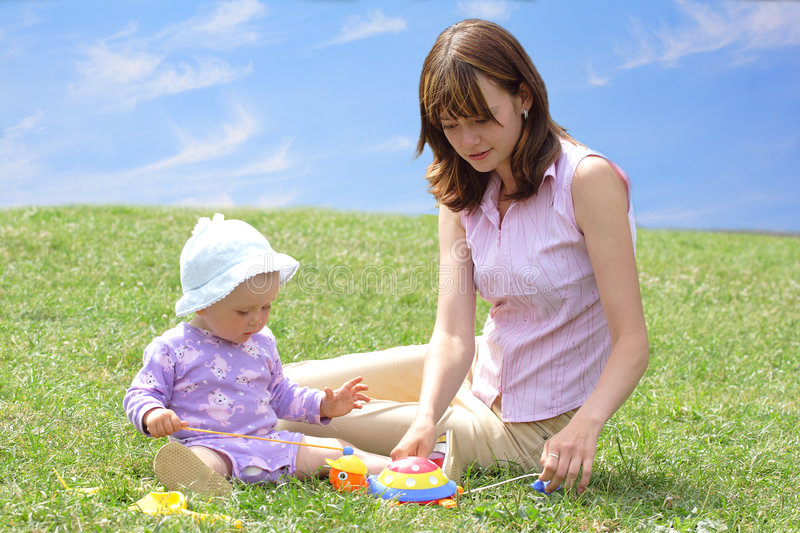 Download Happiness stock photo. Image of care, grass, game, girl - 8776068