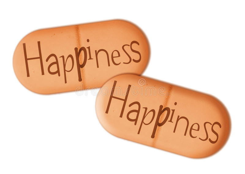 Happiness aka happy pills, drugs - psychology wellbeing concept