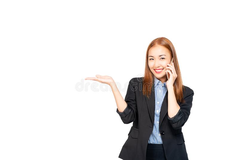 Happiness asian young confident successful and beautiful business woman online sales through using mobile phone isolated on white. royalty free stock photography