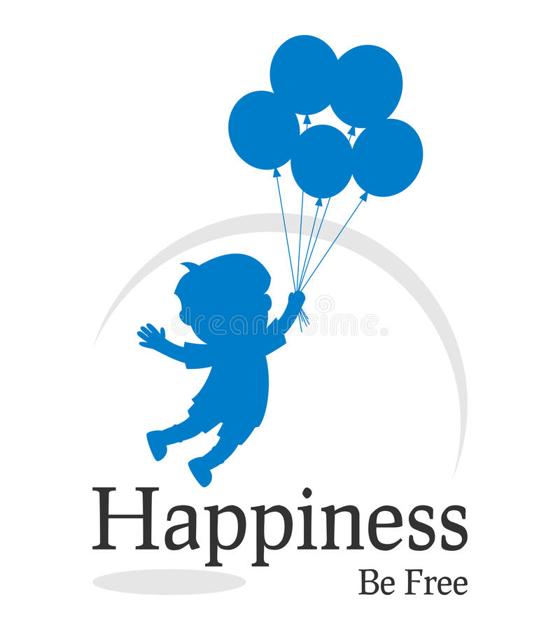 Happiness Be Free Logo. With a child silhouette flying with balloons. Eps file available vector illustration