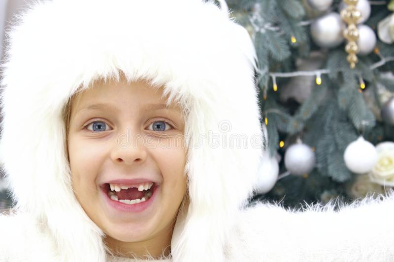 Happiness, Childhood, Christmas, Winter, Holidays Concept. Happy Toothless Girl Portrait. royalty free stock photos