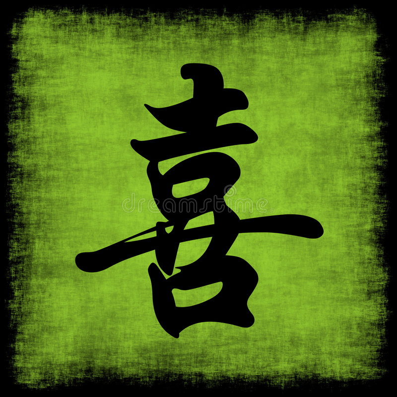Happiness Chinese Calligraphy Set Royalty Free Stock Photos