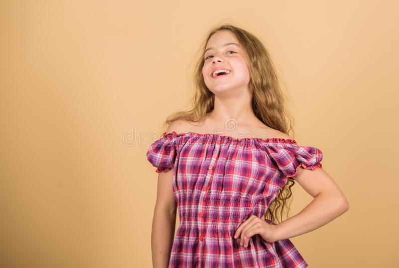 Happiness concept. Little girl happy smiling. Adorable beauty model with cute smile. Happy childhood. Positive emotions royalty free stock photos