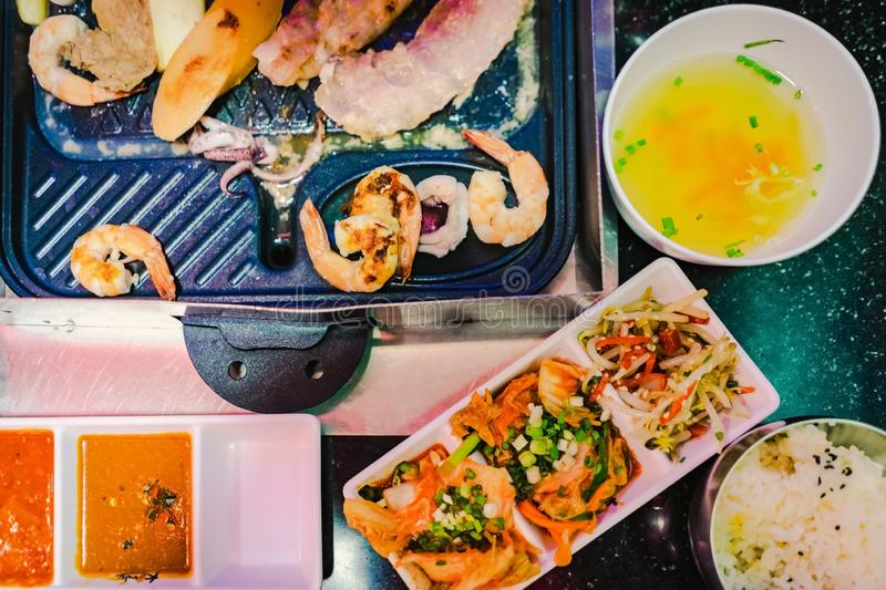 Happiness Enjoy eating Korean BBQ traditional famous food with family stock image