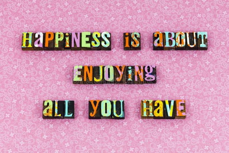 Happiness enjoy life love live letterpress royalty free stock photography