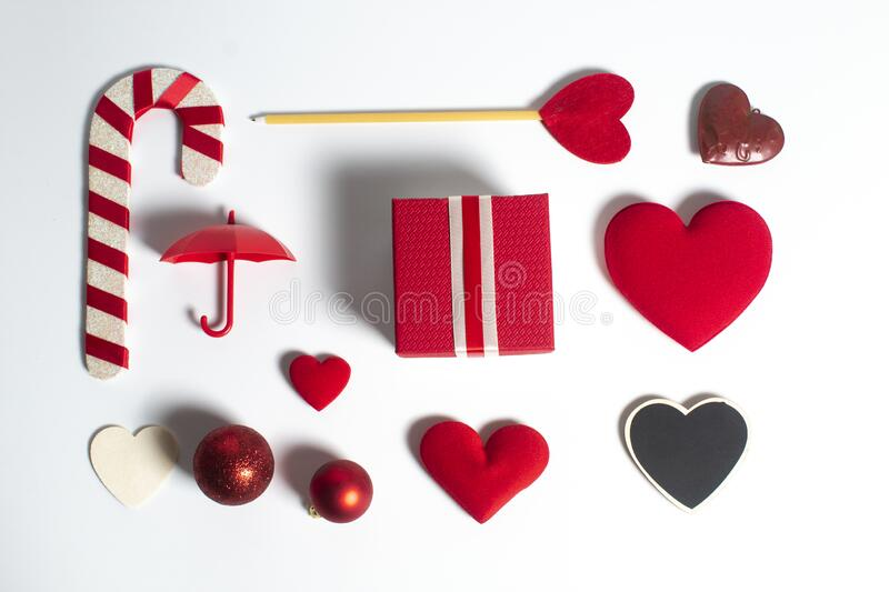 Happiness family with love red heart decoration in festive holiday season greeting of valentine`s day gift wedding royalty free stock photos