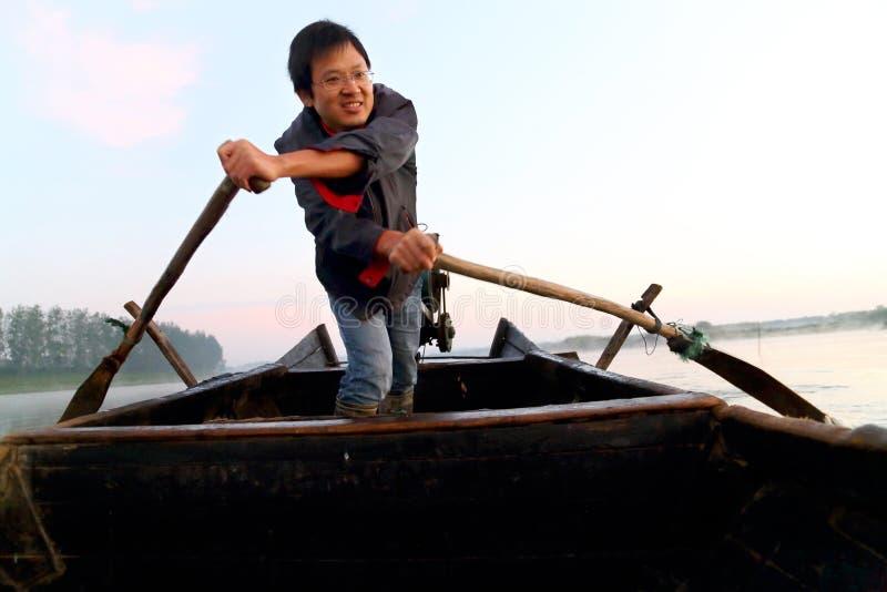 The happiness fisherman stock image